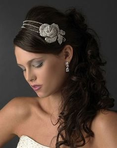 bridal hair half up with headpiece - Google Search