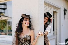 Unique same sex wedding in the German countryside with 'First Non-Look photos', the brides who made all the decorations including their own outfits and steampunk cake! Vintage Diy, Steampunk, Germany, Weddings, Bride, Unique, Photography, Outfits, Wedding Bride