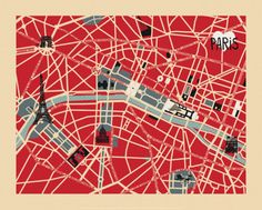 Vintage Map of Paris Print at eu.art.com