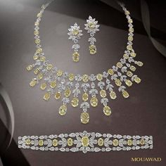 @mouawadjewelry Mark the beginning of a new, dazzling year with the gift of brilliance. - La Lumière white and yellow diamond suite. #NewYear2017 #MouawadDiamondHouse #HighJewelry #WhiteDiamond #YellowDiamond #RareJewels