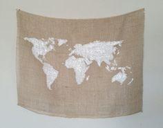Welt Karte Sackleinen Wandbehang 24 in x 18 in
