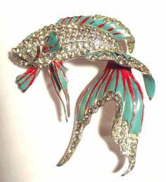 RARE Marcel Boucher Enamel Siamese Fighting Fish Brooch Signed MB Phrygian Cap | eBay