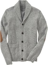 Shawl cardigan with elbow patch.