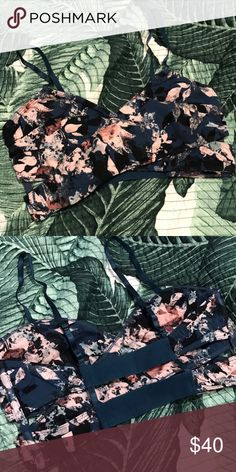NWOT Free People Floral Wrap It Up Bralette Brand new without tags; still has plastic where original tags attached to   Size Medium Color: Dark Blue With All Over Floral   Super soft patterned wrap bra with adjustable straps and a caged back. Side boning for support. 95% cotton, 5% spandex   *NO TRADES!!* Free People Intimates & Sleepwear