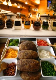 Baked Potato Bar. Found quantities and how tos on Ellen's Kitchen. Ha!