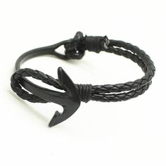2016 Hook Silver Plated Fashion Jewelry Beach Sport Paracord Survival Bracelet Men Half Bend Anchor Leather Bracelet