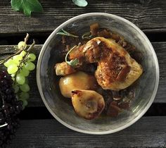 Chicken with Pears and Grape Molasses. Tender chicken gets a boost in this simple recipe with sweetened pears and grape molasses.