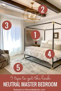 Go for a calming and classic bedroom with these 5 Tips For Recreating This Room. Elegant Neutral Master Bedroom Get The Look At Remodelaholic.com. Find similar or exact pieces to get this look in your own home. Bedroom from UVPH 2020 Home by Arive Homes #masterbedroom #neutralbedroom #elegantbedroom #bedroomideas #bedroomremodel #bedroomdesign