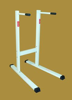 """Angled Dip Station - Same day shipping. Comfortable 1 1/4"""" Dia - 5"""" long Hand Grips. Specially Angled Design for all Size Users. 500 lb. Capacity. Will Accomodate Tall & Heavy Person. 42"""" x 27.5"""" x 51""""H - 53 lbs."""