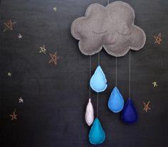 DIY Felt Rain Cloud Mobile Tutorial