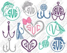 Fishing Heart and Circle Monogram Frame Custom DIY Cutting File Set in SVG, EPS, DXF, JPEG, and PNG Format