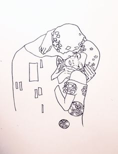 "Gustav Klimt's ""Fulfillment"", and ""The Kiss""; Minimalized renderings."