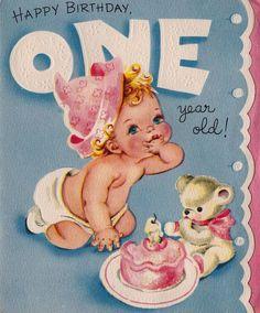 Vintage Happy Birthday One Year Old Greetings by poshtottydesignz Vintage Birthday Cards, Bday Cards, Kids Birthday Cards, Vintage Cards, Vintage Postcards, Happy Birthday 1, Happy Birthday Images, Happy Birthday Greetings, Birthday Wishes