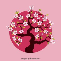 22 Trendy Ideas For Cherry Tree Vector Blossoms Cherry Blossom Vector, Pink Cherry Blossom Tree, Cherry Blossom Japan, Blossom Trees, Cherry Tree, Japon Illustration, Tree Illustration, Art N Craft, Thinking Day