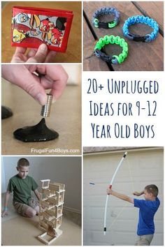 20+ Unplugged Ideas for Tweenage Boys (ages 9-12).  Ideas for projects, hobbies, chores, etc.