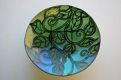 Rainbow Leaves fused glass plate by PaulineOlesen on Etsy https://www.etsy.com/listing/84415609/rainbow-leaves-fused-glass-plate