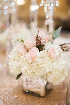 Pink Rose and Ivory Hydrangea Centerpiece   photography by http://www.carrettophoto.com/