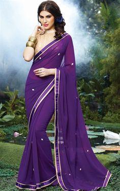 Dazzling Deep Purple Color Casual Saree