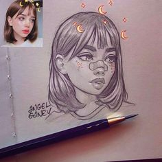 Portrait sketch of ? Love the cutie style and the lil stars and stuff ☺️✨ Portrait sketch of Ani S. Love the cutie style and the lil stars and stuff ☺️✨ Secrets Of Drawing Most Realistic Pencil Portraits - - Angel Ganev (Angel Ganev) What is i Pencil Art Drawings, Art Drawings Sketches, Cute Drawings Tumblr, Cute Drawings Of People, Sweet Drawings, Realistic Drawings, Cartoon Drawings, Arte Sketchbook, Portrait Sketches