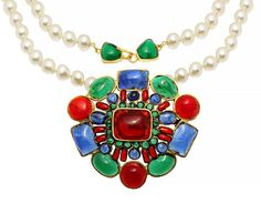 Chanel Necklace With Dark Blue Cabochons