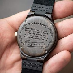 Great Gift For Wife Engraving Wooden Watch by HeavenKP on Zibbet