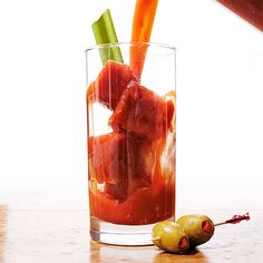 DIY Bloody Mary Bar: Freeze Bloody Mary base into ice cubes so your drink wont get watered down!
