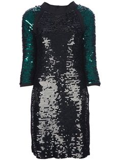 Black silk and cotton dress from Lanvin featuring round neck with grosgrain trim, an all-over embellished sequins design and contrasting green three quarter raglan sleeves.