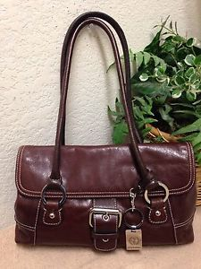 Giani Bernini Brown Glazed Leather Shoulder Handbag Bag Satchel Key Chain