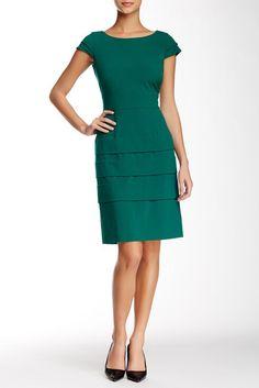 Tahari Cap Sleeve Bi-Stretch Tiered Sheath Dress
