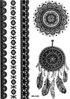 Black and White Dreamcatcher & Mandala Temporary Tattoo Sheet *** Listing is for one sheet of high quality tattoo which lasts about 2 days up to a week*** *** Listing is for 1 full tattoo set sheet **