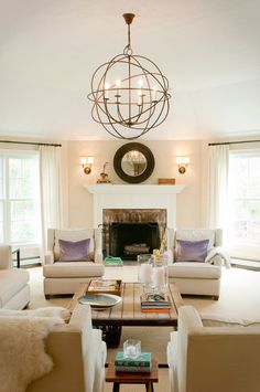 Cream living room in conversation seating.