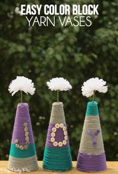 These easy color block vases made from foam and yarn are one of the cutest home decor ideas! #makeitfuncrafts