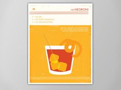 Negroni Cocktail Art Print Food and Drink by theNATIONALanthem