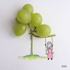 A group of DIY creative painting works, including daily necessities, food and illustration, narrate the daily life of a lovely girl. L'art Du Fruit, Fruit Art, Creative Illustration, Photo Illustration, Photography Illustration, Creative Photography, Art Photography, Grape Tree, Wow Art