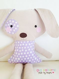 Dog Sewing Pattern Boy And Girl Toy Dog Sewing by GandGPatterns Fabric Toys, Fabric Crafts, Sewing Crafts, Sewing Projects, Sewing Stuffed Animals, Stuffed Animal Patterns, Sewing For Kids, Baby Sewing, Doll Patterns