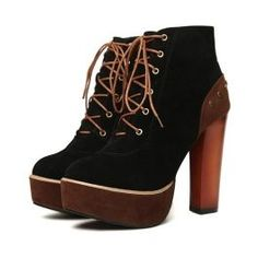 Black Thick Heel Lace-Up Fashion Boots (In 2 Colors)