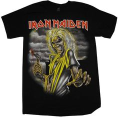 Global Merchandising Services Iron Maiden Killers Album Cover Rock... ($17) ❤ liked on Polyvore featuring tops, t-shirts, shirts, band tees, blusas, black shirt, black top, rock t shirts, t shirts and shirts & tops