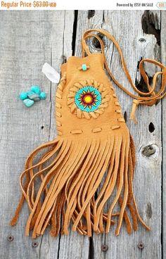 ON SALE Fringed leather bag  medicine bag  amulet by thunderrose
