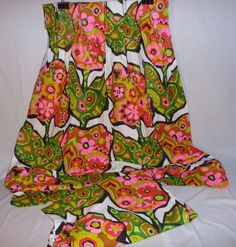 Pr Vtg Mid Century MOD Psychedelic Floral Fabric Curtain Panels Pinch Pleat