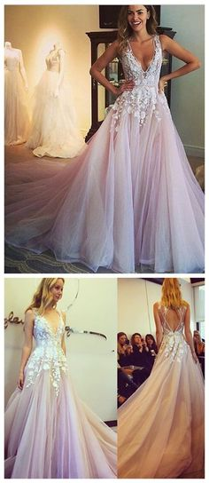 Sexy V-Neck Off Shoulder Prom Dress, Charming Prom Dress,Party Prom Dresses, Pink Bridal Gown The dress is fully lined, 4 bones in the bodice, chest pad in the bust, lace up back or zipper back are al