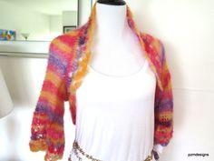 Striped mohair sweater, silk mohair hand knit shrug, luxury fine knitwear