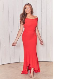 e675412be8c1 Sistaglam loves Jessica Wright Eliseya red off the shoulder maxi dress with  frilled hem