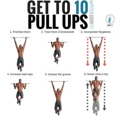 HOW TO GET 10 PULL UPs? Getting 10 strict pull ups and 10 pull ups are 2 completely different goals so it's up to you what standard you hold yourself to. Here's what I've found works after more than a decade of training people. If you want to get stronger at pull ups you must prioritize them in your workouts by doing them first. Train them more frequently. Incorporate negatives. Step up and starting from the top position and lower yourself down in a controlled fashion over 3 seconds.