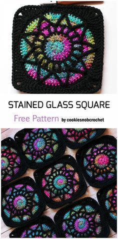 Crochet afghans 823947694314038590 - Crochet Stained Glass Square – Free Pattern Source by Eve_crochetaholic Crochet Motifs, Granny Square Crochet Pattern, Crochet Stitches Patterns, Crochet Patterns For Beginners, Crochet Blocks, Knitting Patterns, Free Crochet Square, Crochet Squares Afghan, Crochet Afghans