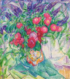A still life with Peonies, Anemones and Lupins by by Leo Gestel