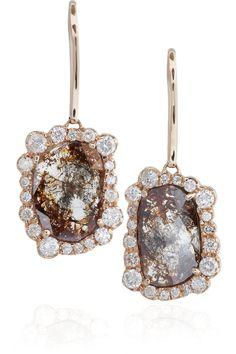 Kimberly McDonald|18-karat rose gold diamond slice earrings
