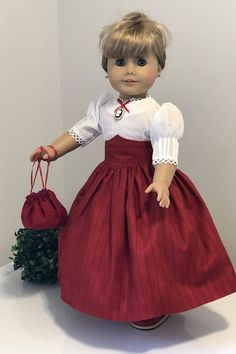 Red and blue striped Victorian Skirt / Heirloom Blouse / and Purse fits American Girl Dolls This skirt and delicate batiste blouse , a great everyday Victorian outfit. The Blouse is made with delicate white batiste fabric. Lace trims were added around the neck and lower edge of