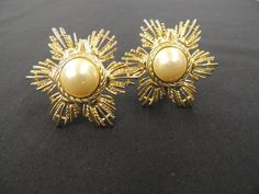 Vintage Designer GIVENCHY Goldtone Faux Pearl Star Burst Clip Earrings Runway  #Givenchy #Clip