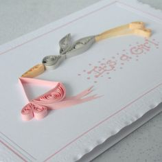 Quilled new baby girl birth congratulations card with quilling stork £6.00