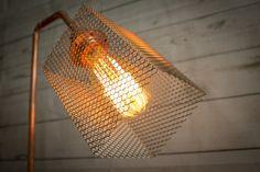 Lámpara mesa industrial cemento cobre Lámpara industrial